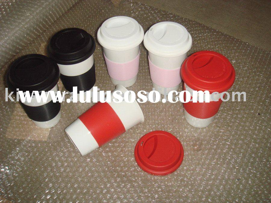 porcelain coffee to go mug with silicon lid and silicon band