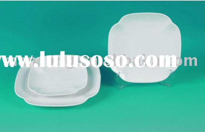 white porcelain ceramic square dinnerware tableware