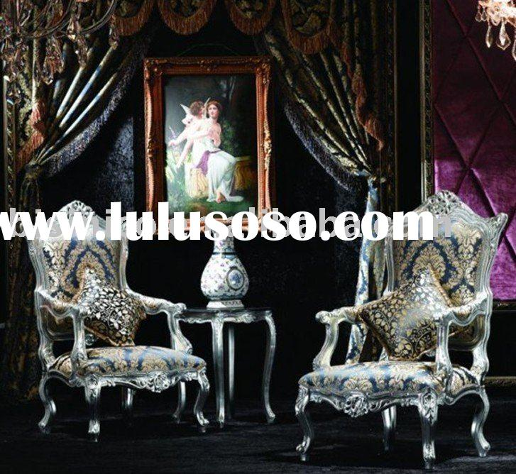 French hand carving wooden arm chairs, single sofa, small round table, tea table set. Silver color