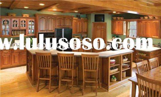Solid Cherry Wood Kitchen Cabinet with Marble Countertop