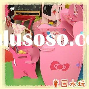 The wooden furniture  desk and chair  for children