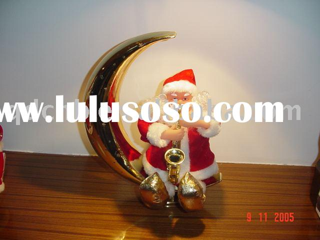 B/O Moon Santa Musical Santa Claus Playing Saxophone on Moon with Fibre Light
