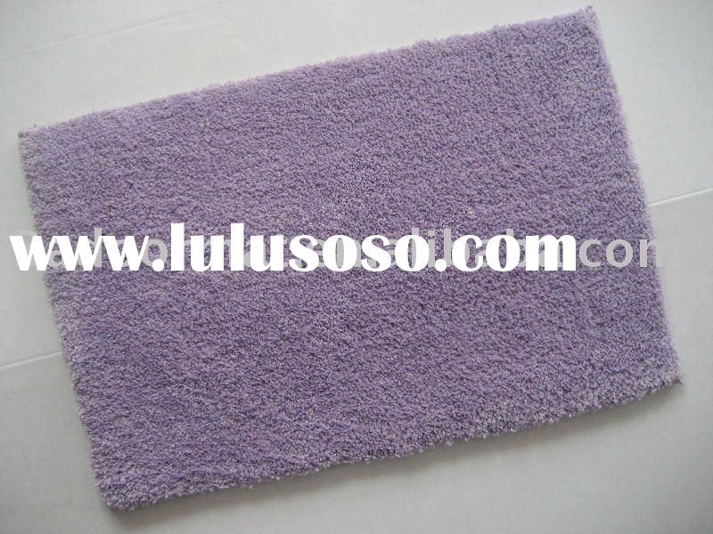 Bathroom rugs with polyester micro fiber yarn