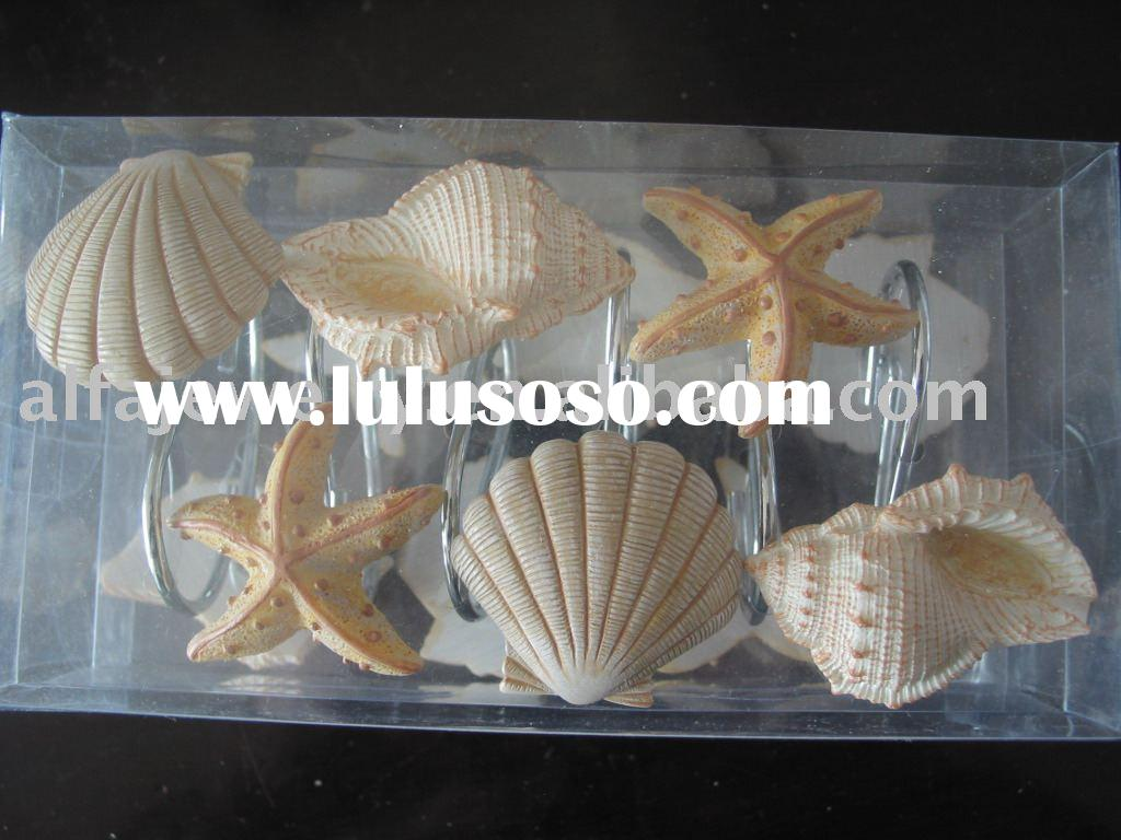 Seashell Shower Curtain Hook Set