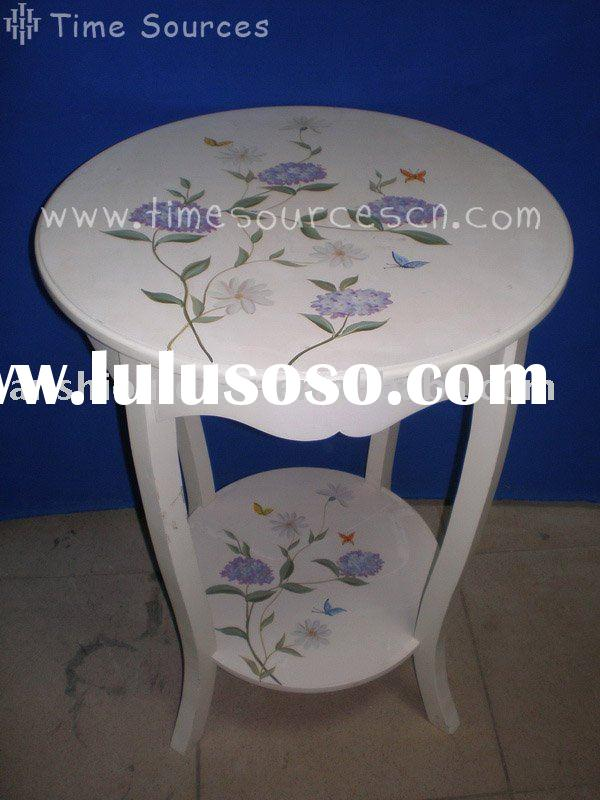 Wooden Hand Painted White Round Table with Bottom Shelf