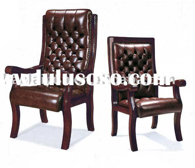 executive leather+wood office chair C-523