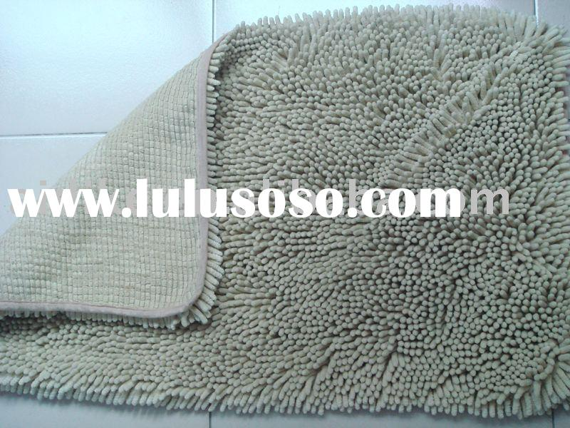 gray chenille bathroom mat