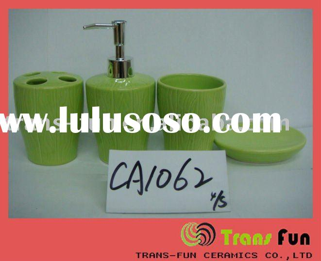 green ceramic bathroom accessory set home decoration