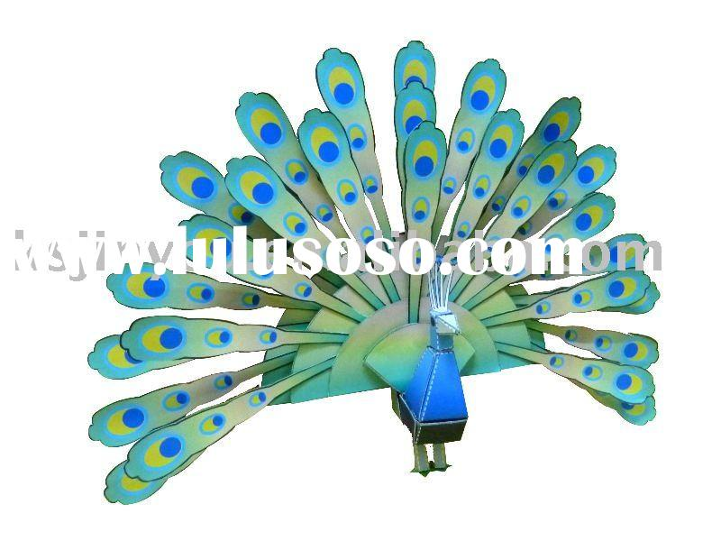 hot-selling children's christmas gift:folding color paper peacock