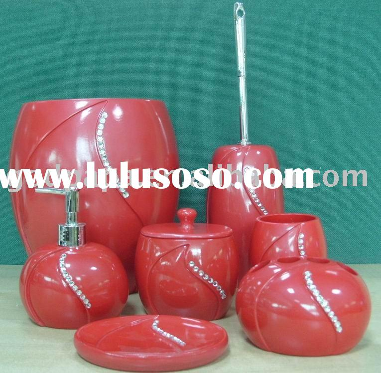 red bathroom accessory set