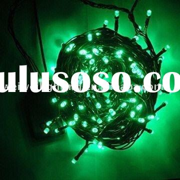 100 Led holiday lights green colour Flicker Style Light Set Black Wire