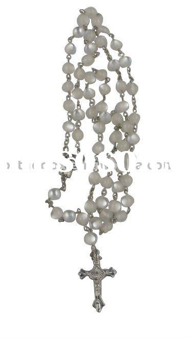 Glass bead rosary necklace