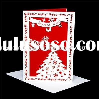 HOT 2011 Red Leaves laser cutting Christmas greeting card