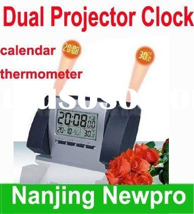 New Dual Projector LCD Alarm Clock Digital projection clock with calendar & thermometer