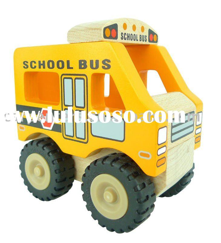 Classic wooden toy cars- School Bus