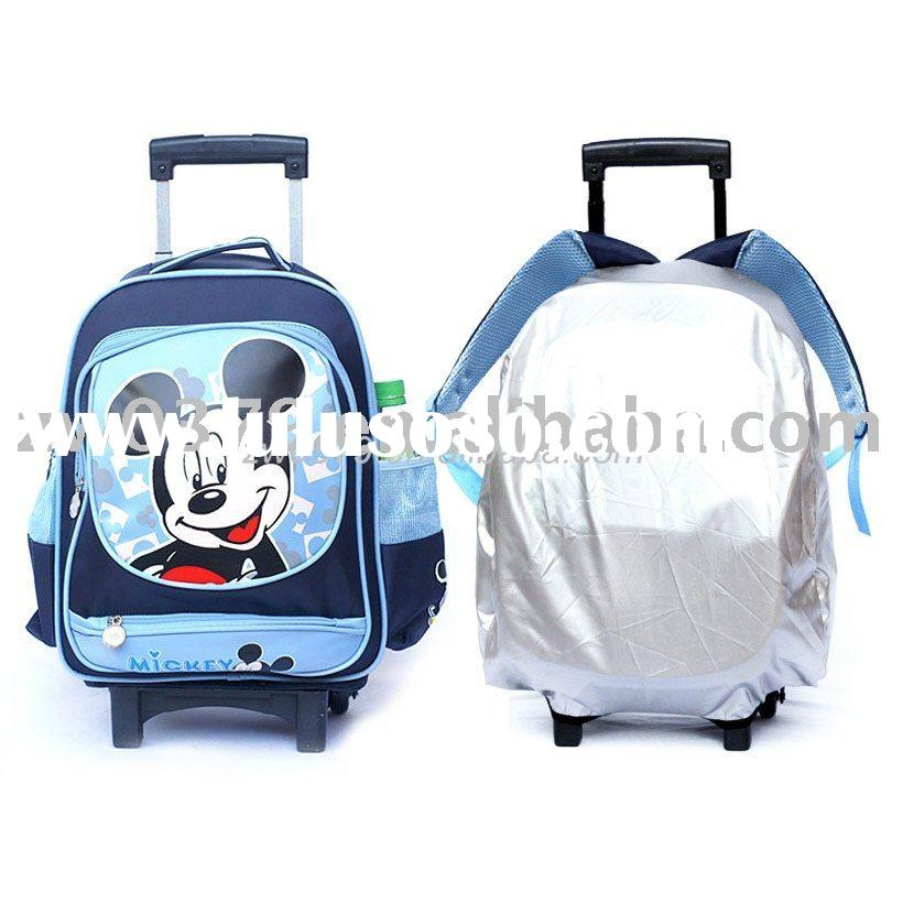 Detachable Cute Mouse Kids School Bag Wheels Backpack with Rain Cover-LSB 38