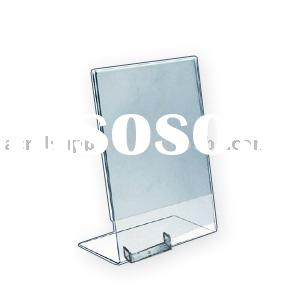 L-Shape Acrylic Sign Holder w/business card pocket