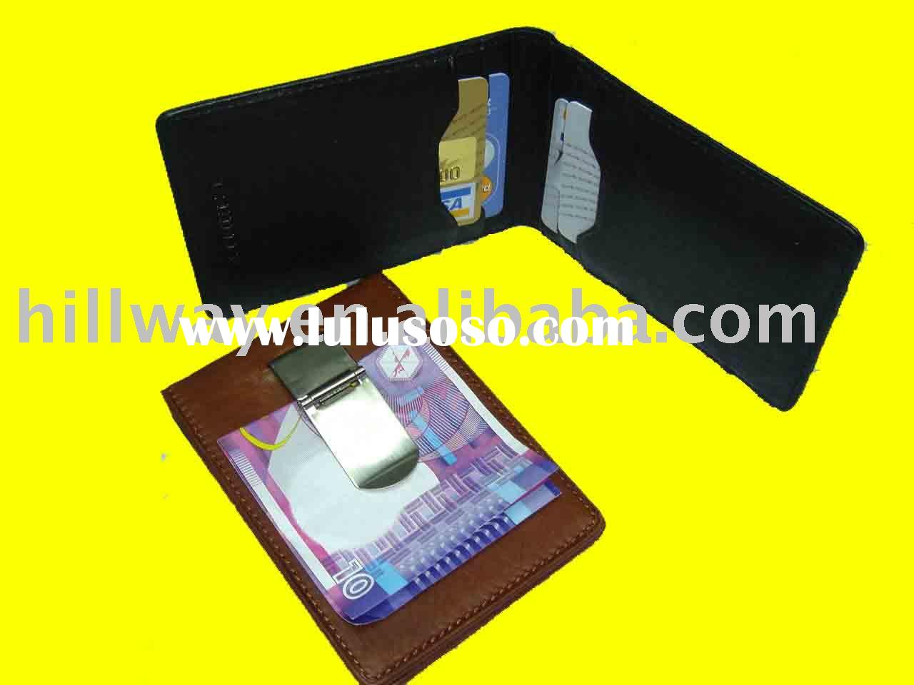 NEW BIFOLD METAL MONEY CLIP CARD HOLDER ID WALLET
