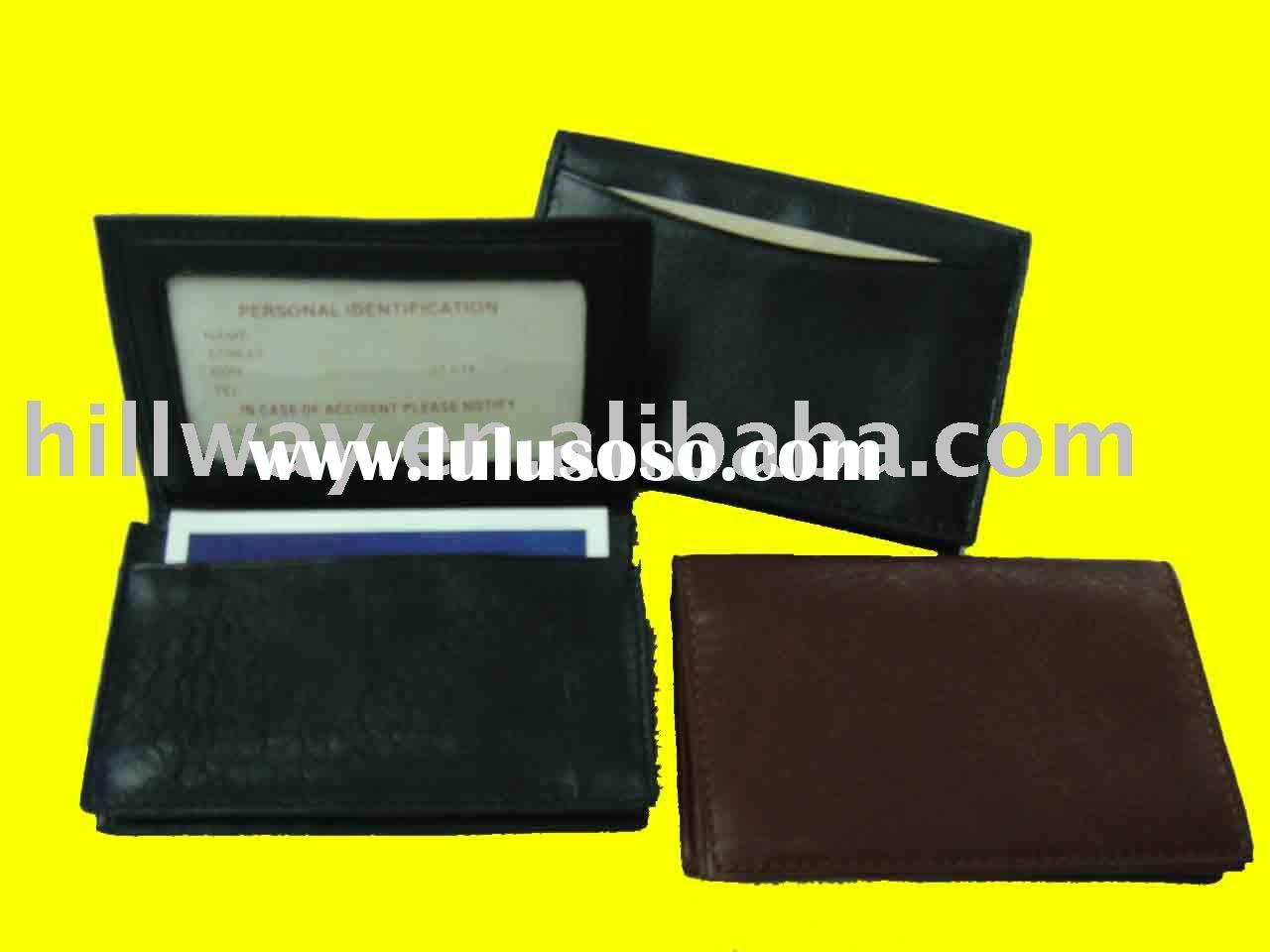 NEW GUSSET EXPANDABLE LEATHER WALLET BUSINESS CARD HOLDER