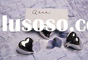 Silver Mini-Heart Place Card Holder
