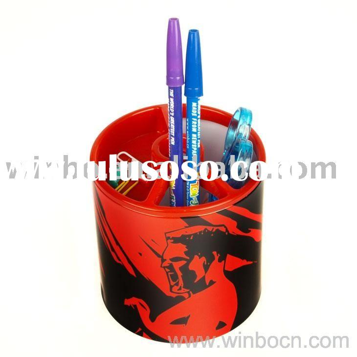 Tinplate and PP Pen Holder with plastic fittings