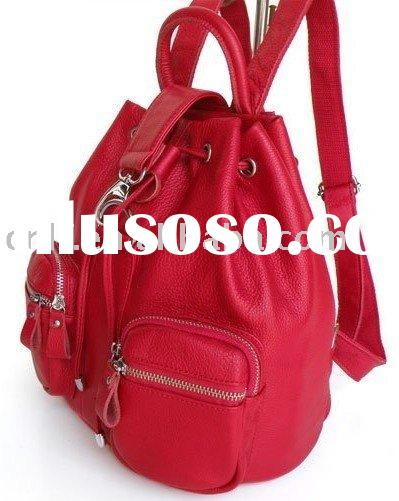 fashion red leather backpack
