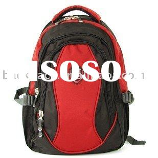 red computer backpack