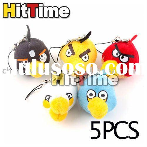 50Sets Hot (5Pcs/Set) Angry Birds Strap Key Chain for Cellphone New Free Air Mail ONLY Wholesale