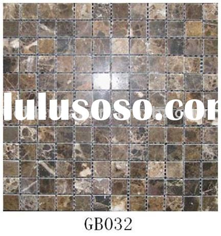 Brown Kitchen Wall Flooring Stone Mosaic Tile