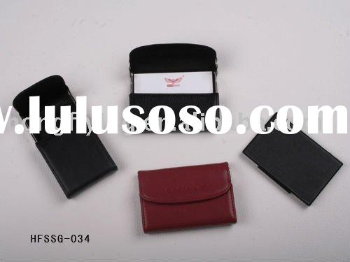 genuine leather name card holder with clips