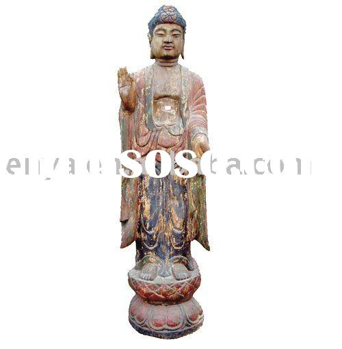 Standing Buddha Statue, Antique Wood Carving