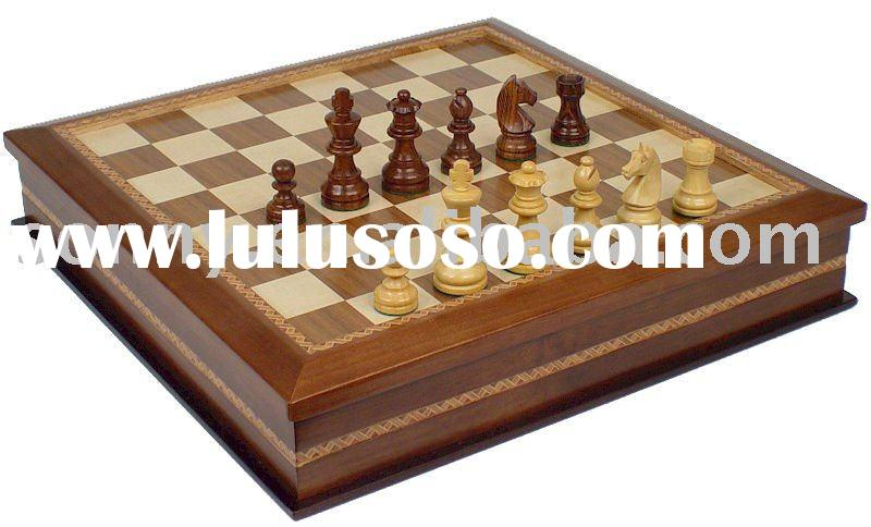Wooden Chess Set and Checkers