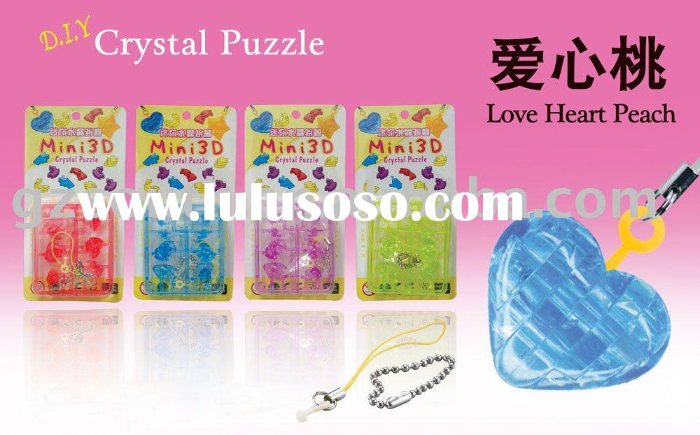 puzzle game/ mini 3d crystal love heart peach puzzle game/ jigsaw puzzle