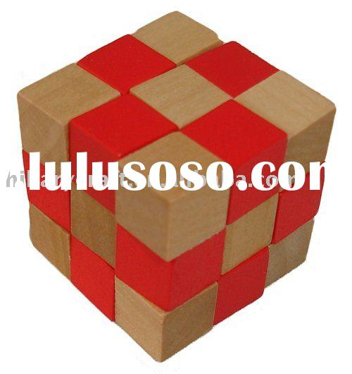 IQ wooden cube brain puzzle toy