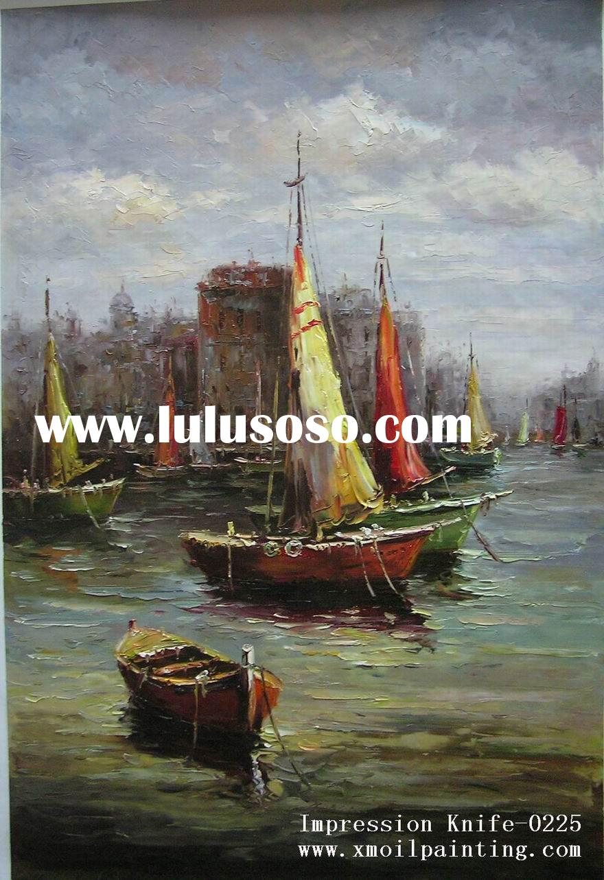 sailing boat oil painting