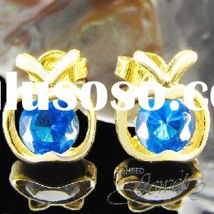 2x6mm Royal Blue Created Sapphire Apple Shape Gold Plated Earrings
