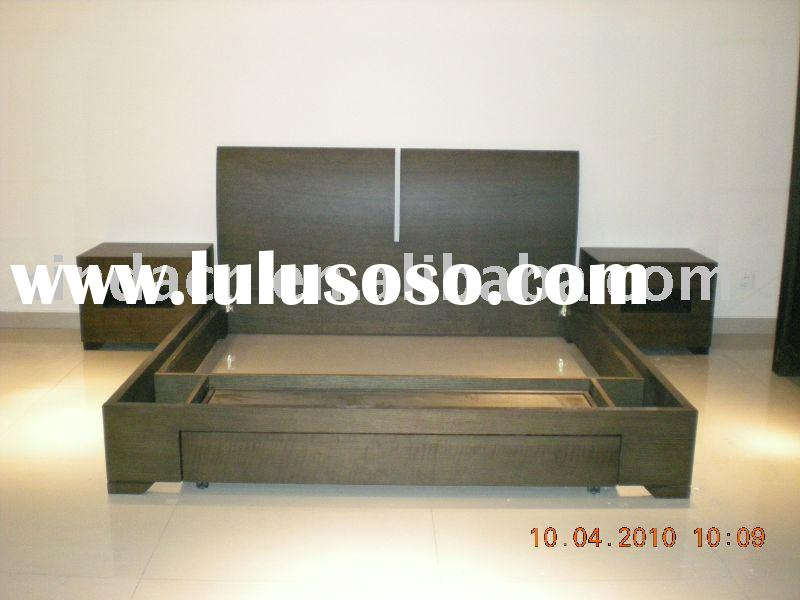 3pc Queen Modern bed  platform bedroom set dark wood