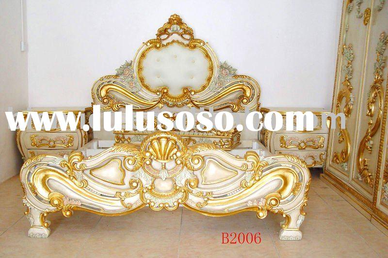 Antique wooden luxury bedroom set, king size bed, dresser, hand carving,gold color