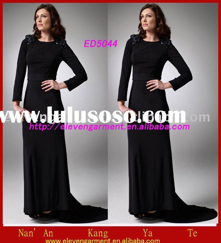Black Beaded long sleeve Evening Dress