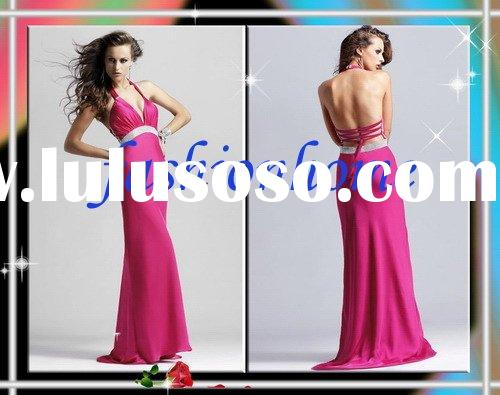 Deep Pinkhalter chiffon pattern Backless Dress   AL069