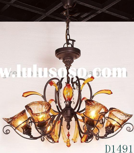 Iron Craft Chandelier with blown glass shade/pendant lamp