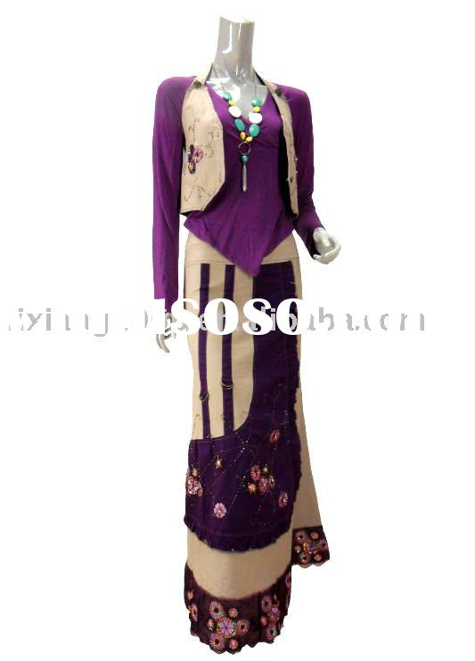 Ladies' Casual Fashionable Beaded Long Skirt and Waistcoat and Simple Sub coat