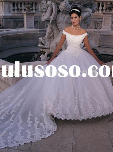 One-piece full-ball skirt with detachable train wedding dress