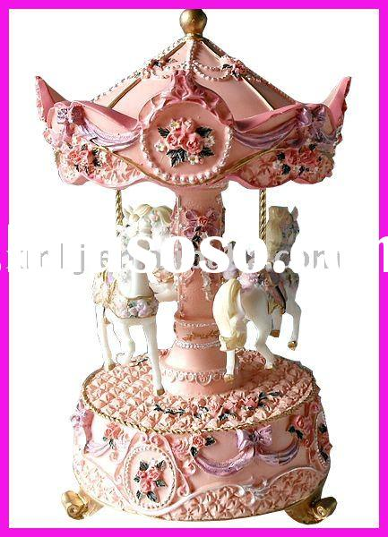 Polyresin Toy Carousel Music Box for Gifts