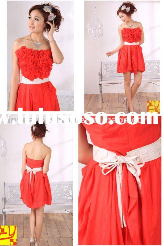 Red woven short peacock prom dress