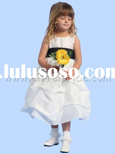 TMT1211  Blossom White Sleeveless Gathered Taffeta Dress w/ Detachable Sash