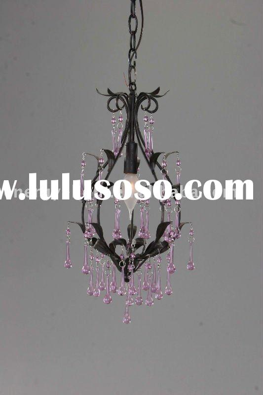 UL Black chandelier with Pink crystal