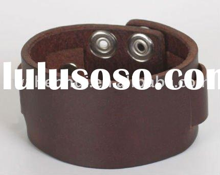 Wide Brown Leather Cuff Bracelet with snaps|personalized leather bracelet