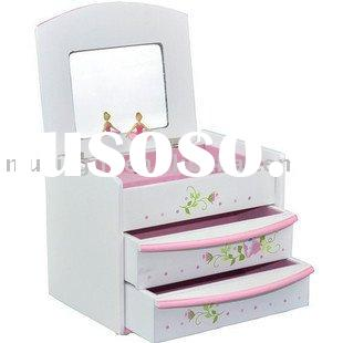 ballerina paper wrapped wooden music Jewelry box with figurines