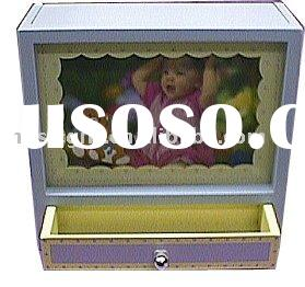 kid musical photo frame shadow box with drawer